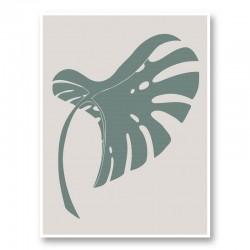 Monstera Bent Green Wall Art Print