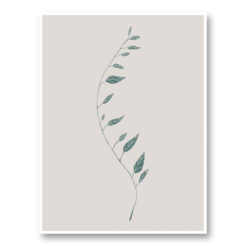 Wavy Branch Green Wall Art Print