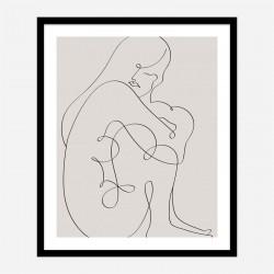 Woman Lines Black Wall Art Print