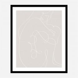 Woman Lines White Wall Art Print