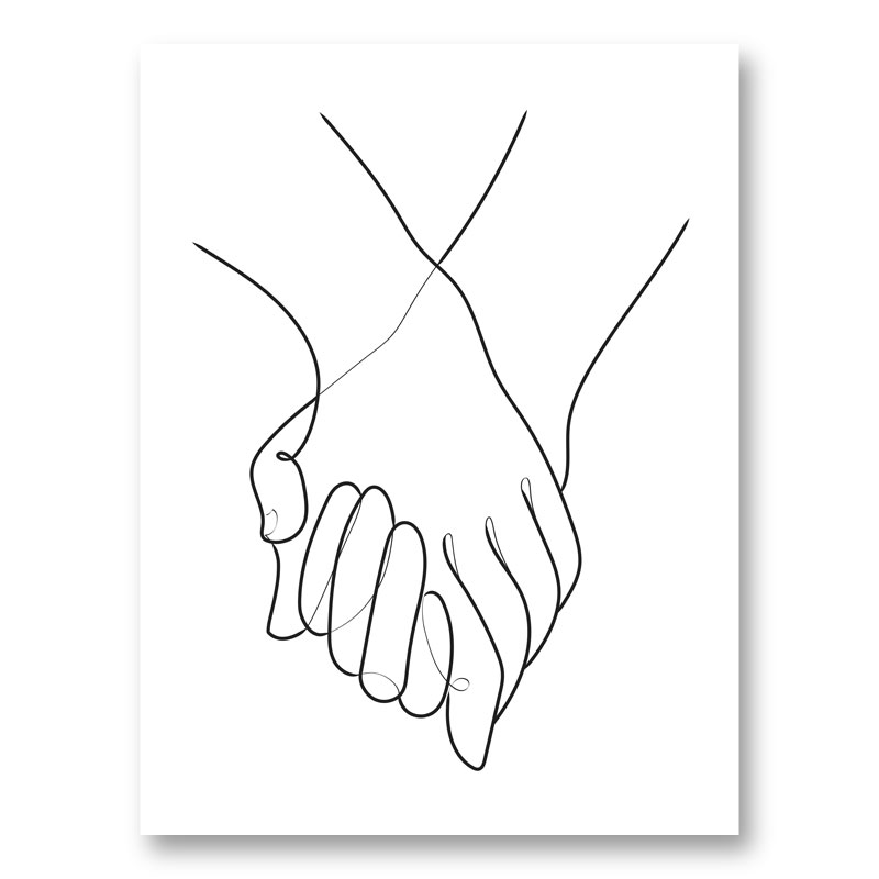Holding Hands Lines Wall Art Print