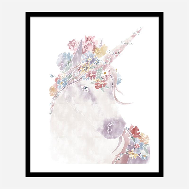 Floral Unicorn Wall Art Print