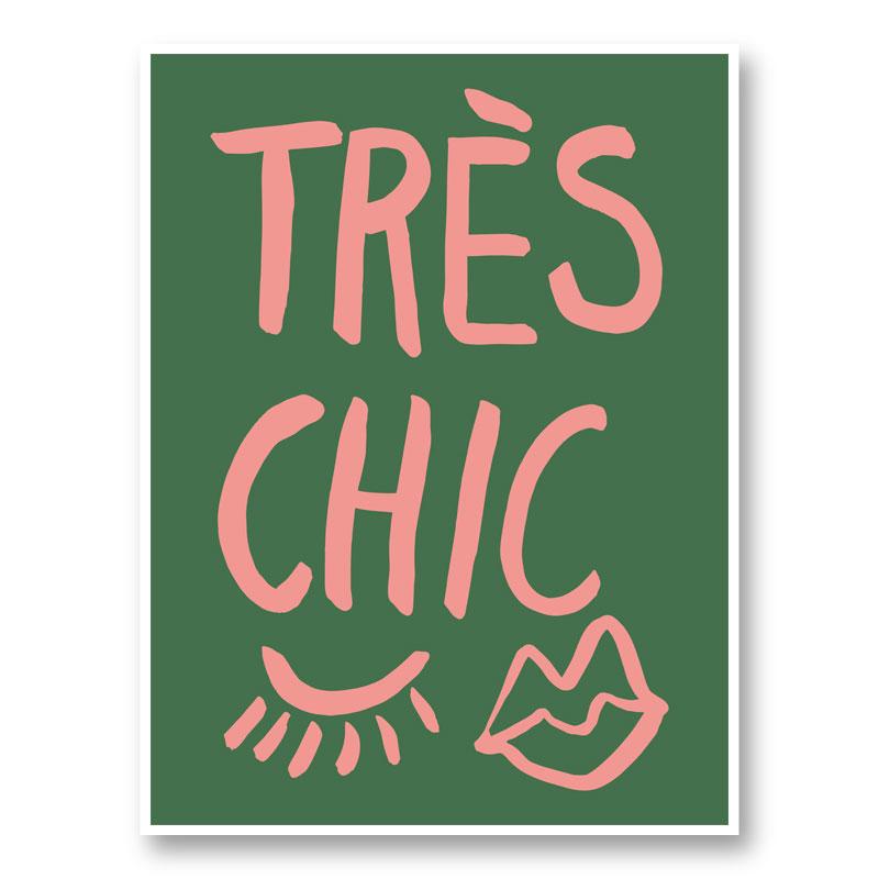 Tres Chic Green Wall Art Print