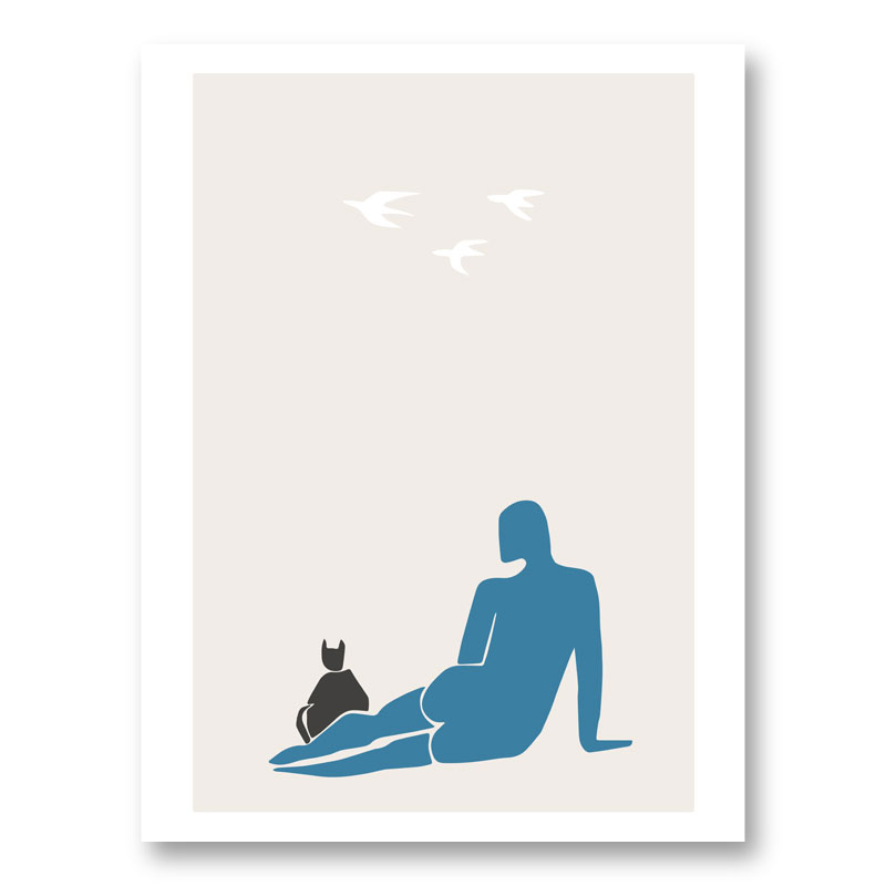 Woman and Cat Wall Art Print