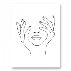 Face Hands Line Art Print