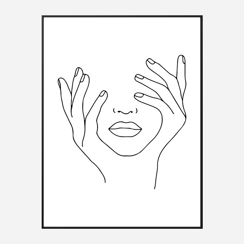 Face Hands Line Art Print