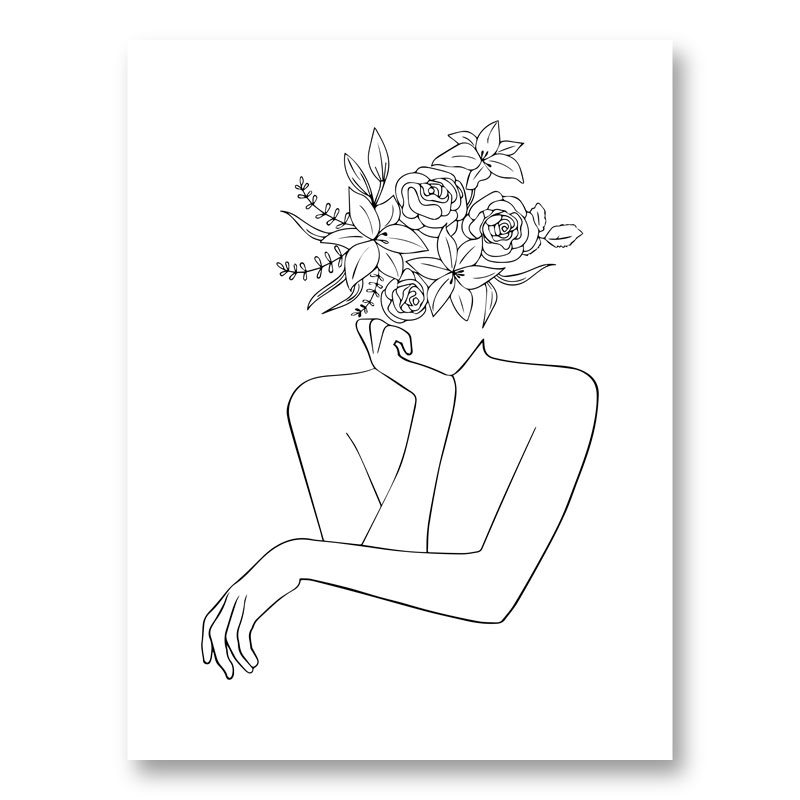 Flower Head Line Art Print