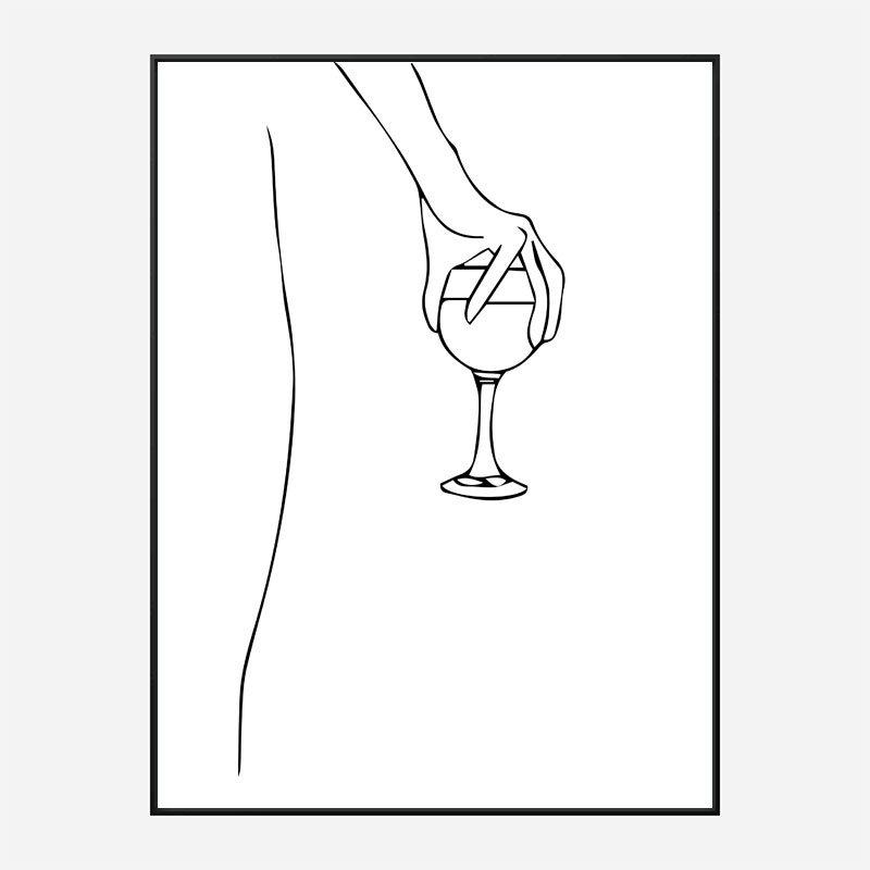 Wine Time Line Art Print