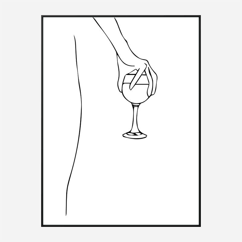 Wine Time Line Art Print