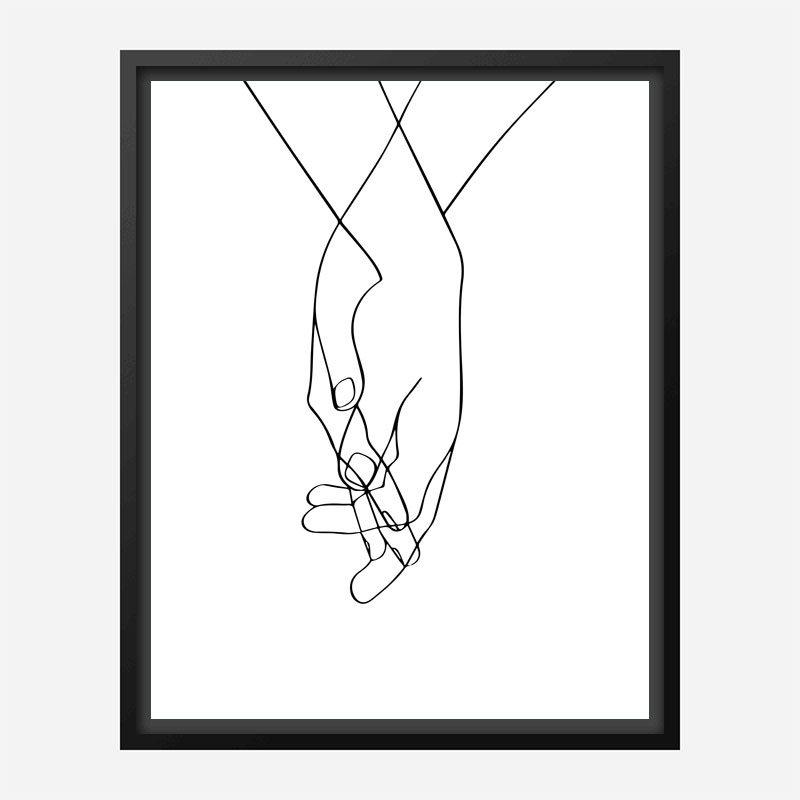 Hands Of Love Line Art Print