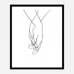 Hands Of Love Line Art Print
