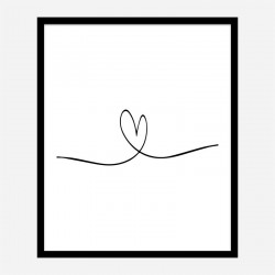 Love Heart Line Art Print
