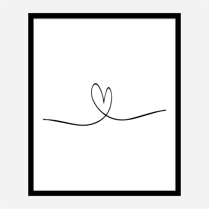 Love Heart Line Art Print