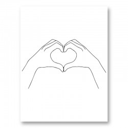 Hands Heart Line Art Print