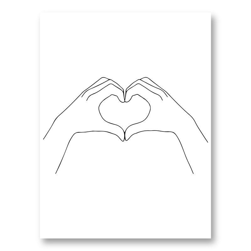 Hands Heart Line Art Print