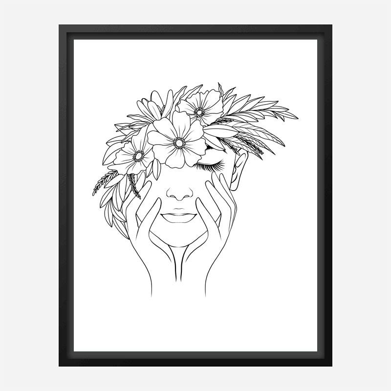 Flower Hair Line Art Print