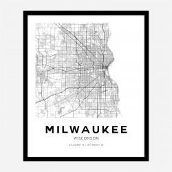 Milwaukee Wisconsin City Map Art Print