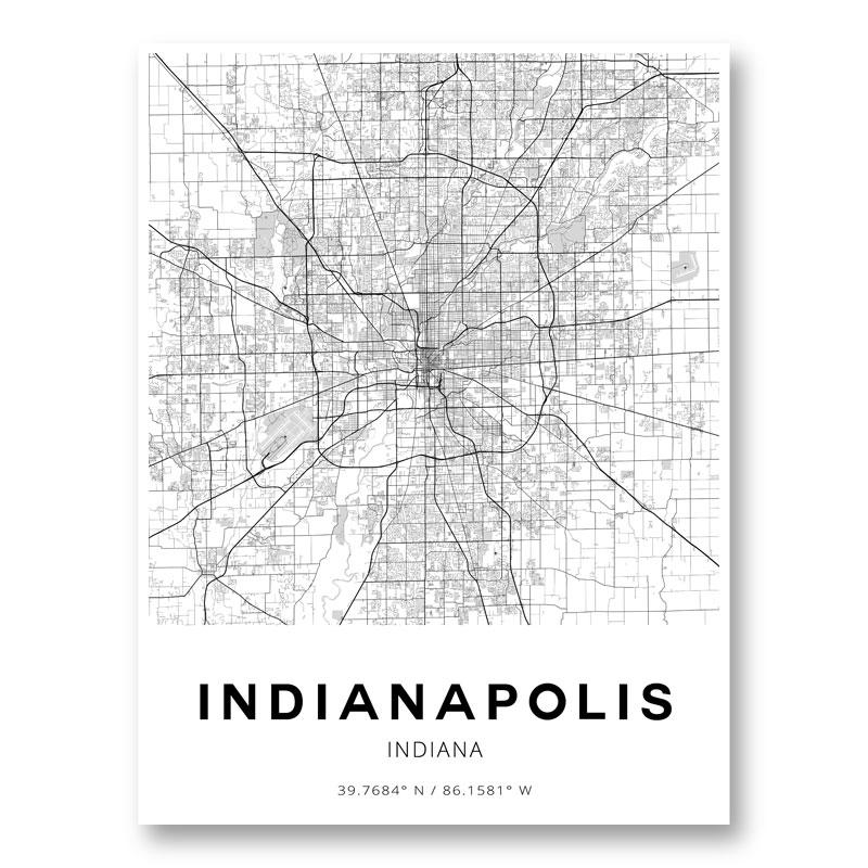 Indianapolis Indiana City Map Art Print