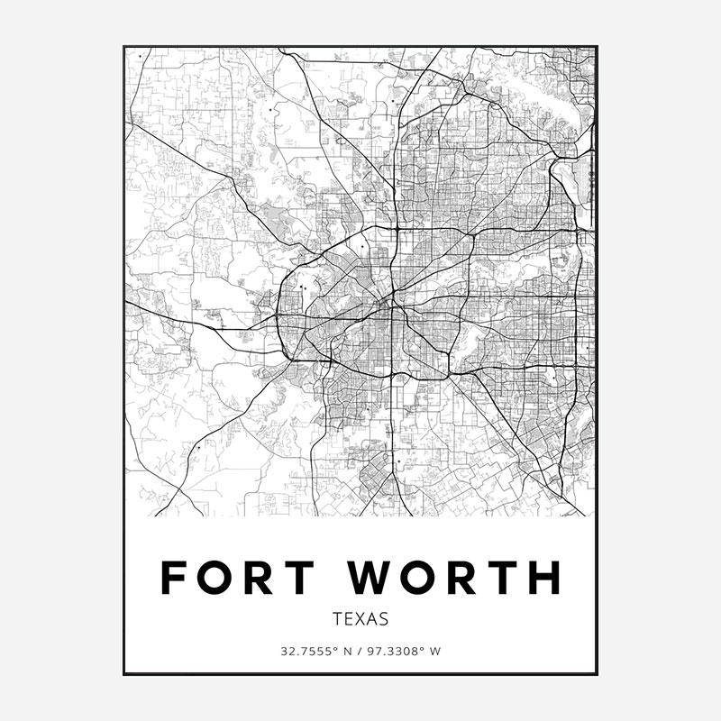 Fort Worth Texas City Map Art Print