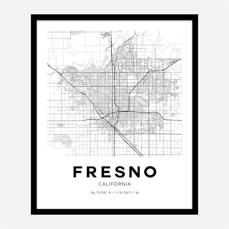 Fresno California City Map Art Print