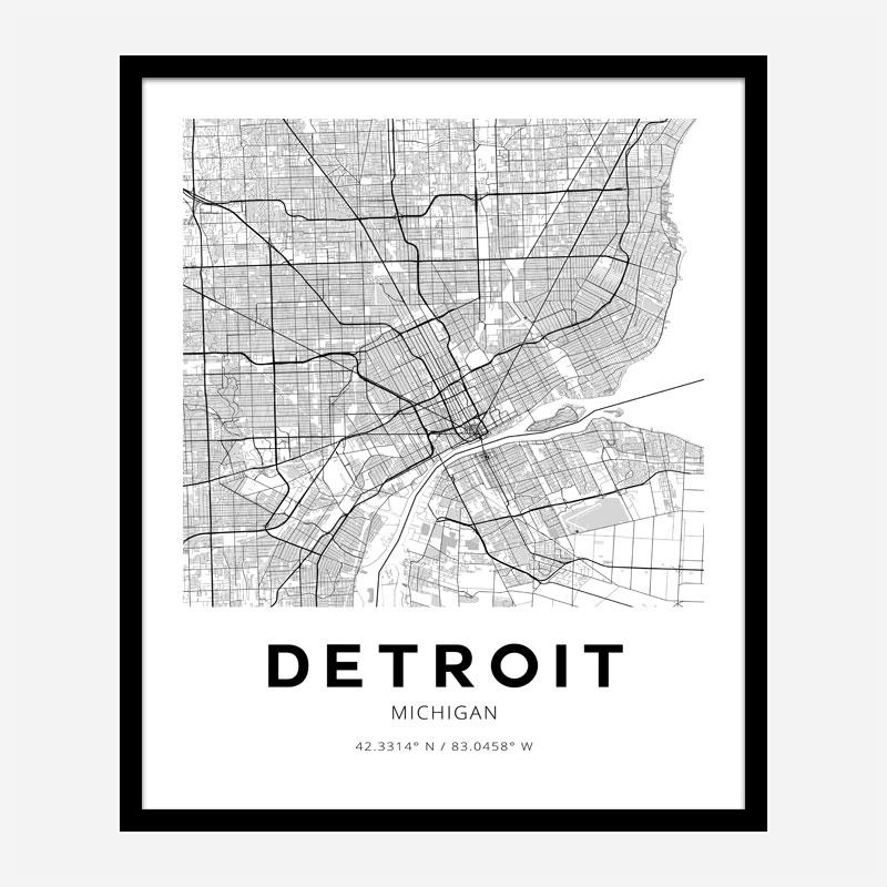 Detroit Michigan City Map Art Print