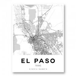 El Paso Texas City Map Art Print