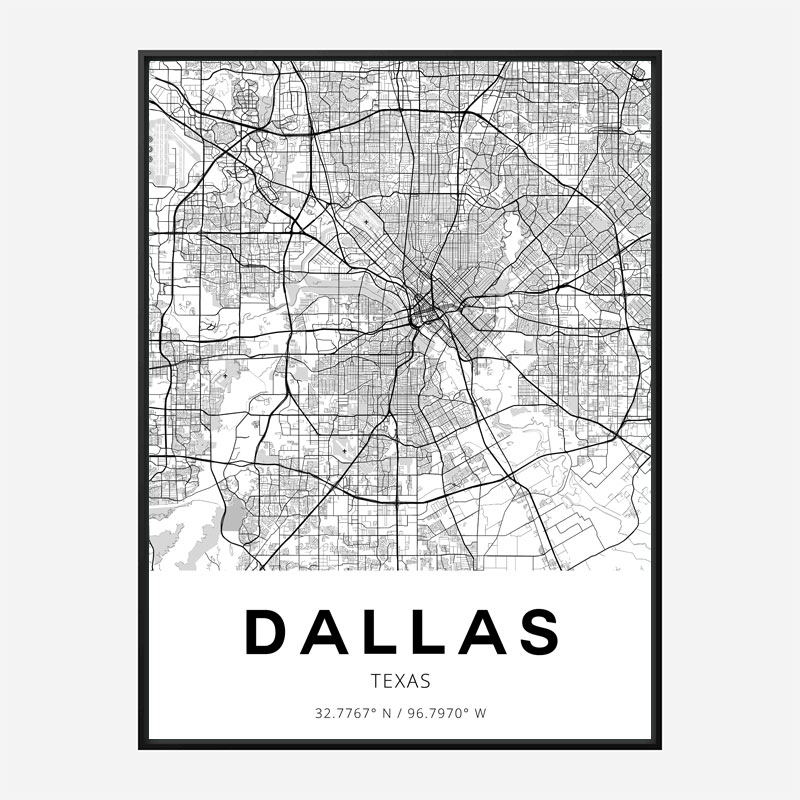 Dallas Texas City Map Art Print