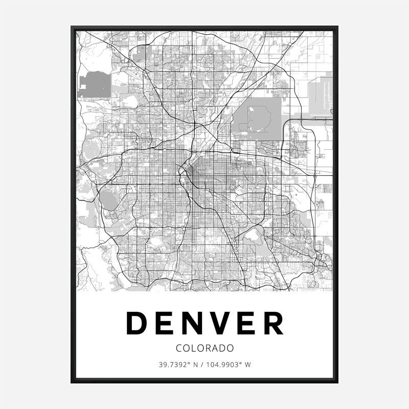 Denver Colorado City Map Art Print