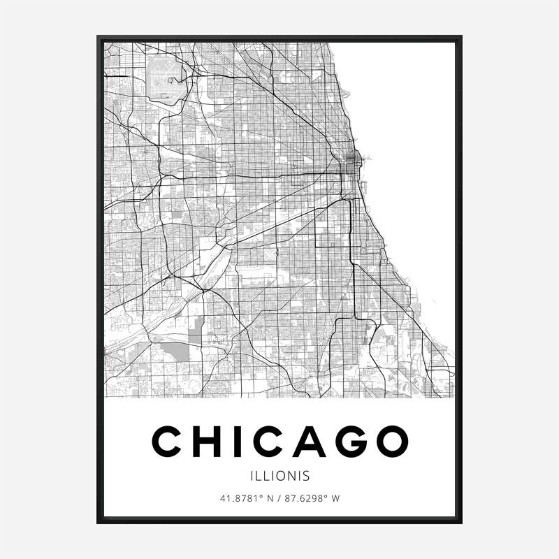 Chicago Illinois City Map Art Print