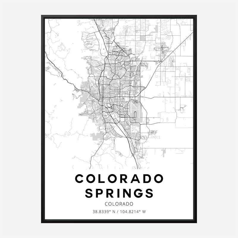 Colorado Springs Colorado City Map Art Print