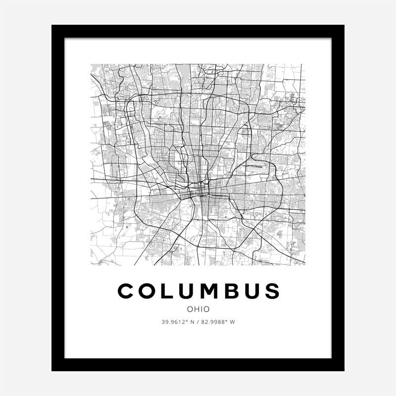 Columbus Ohio City Map Art Print