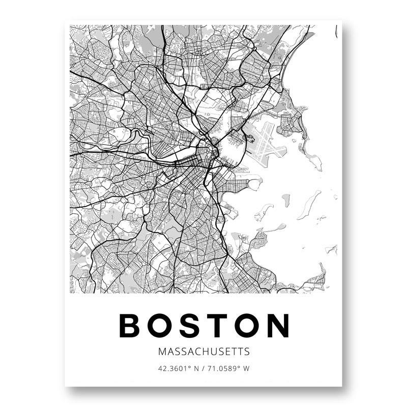 Boston Massachusetts City Map Art Print