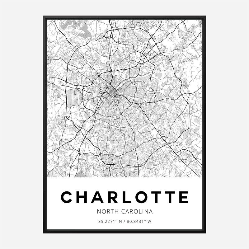 Charlotte North Carolina City Map Art Print