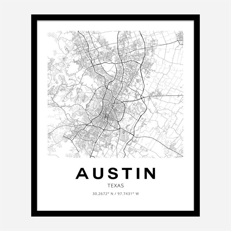 Austin Texas City Map Art Print