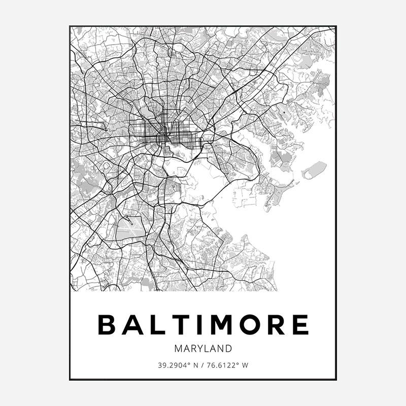 Baltimore Maryland City Map Art Print