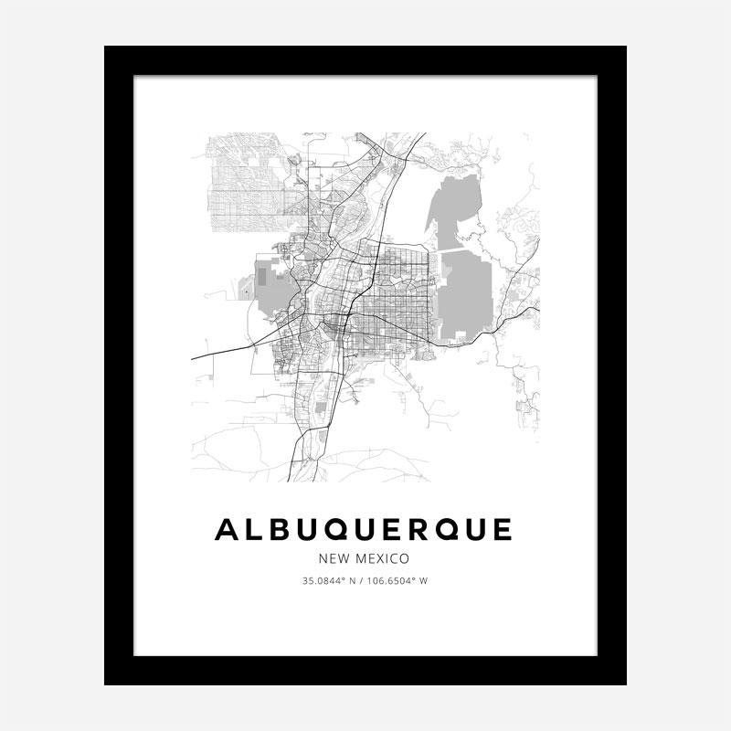 Albuquerque New Mexico City Map Art Print