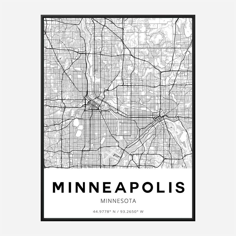 Minneapolis Minnesota City Map Art Print
