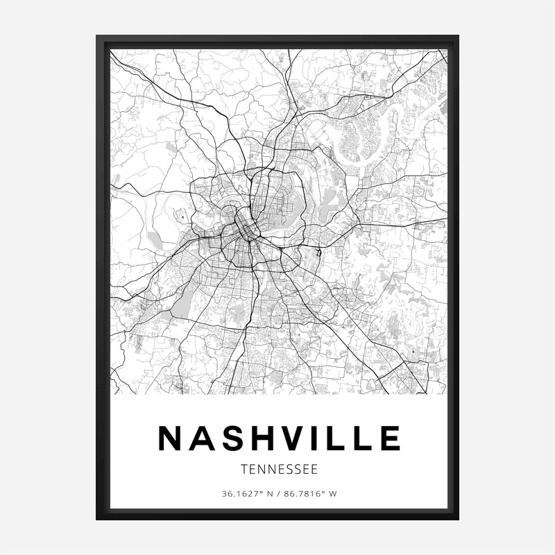 Nashville Tennessee City Map Art Print