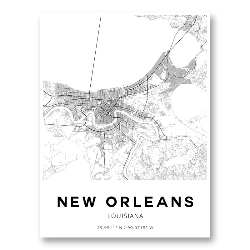 New Orleans Louisiana City Map Art Print