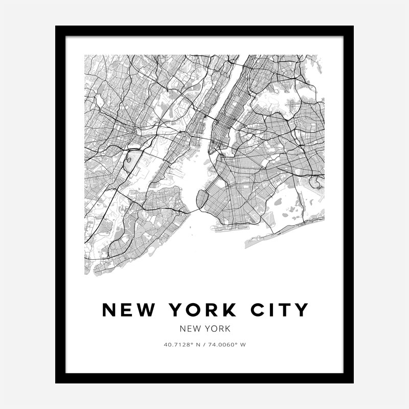 New York City New York City Map Art Print