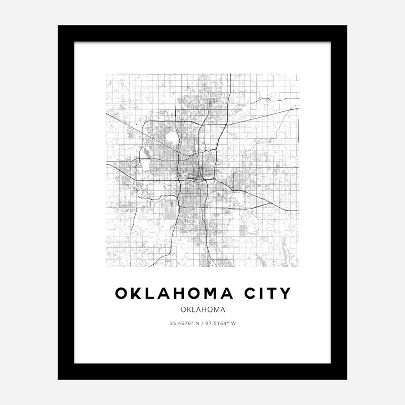 Oklahoma City Oklahoma City Map Art Print