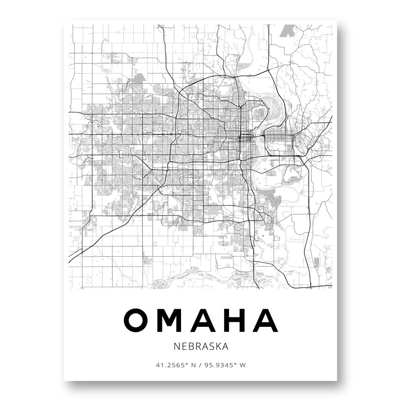 Omaha Nebraska City Map Art Print