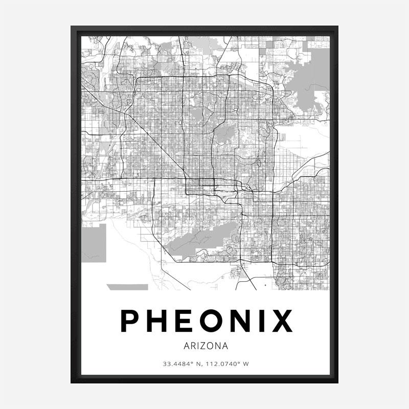 Phoenix Arizona City Map Art Print