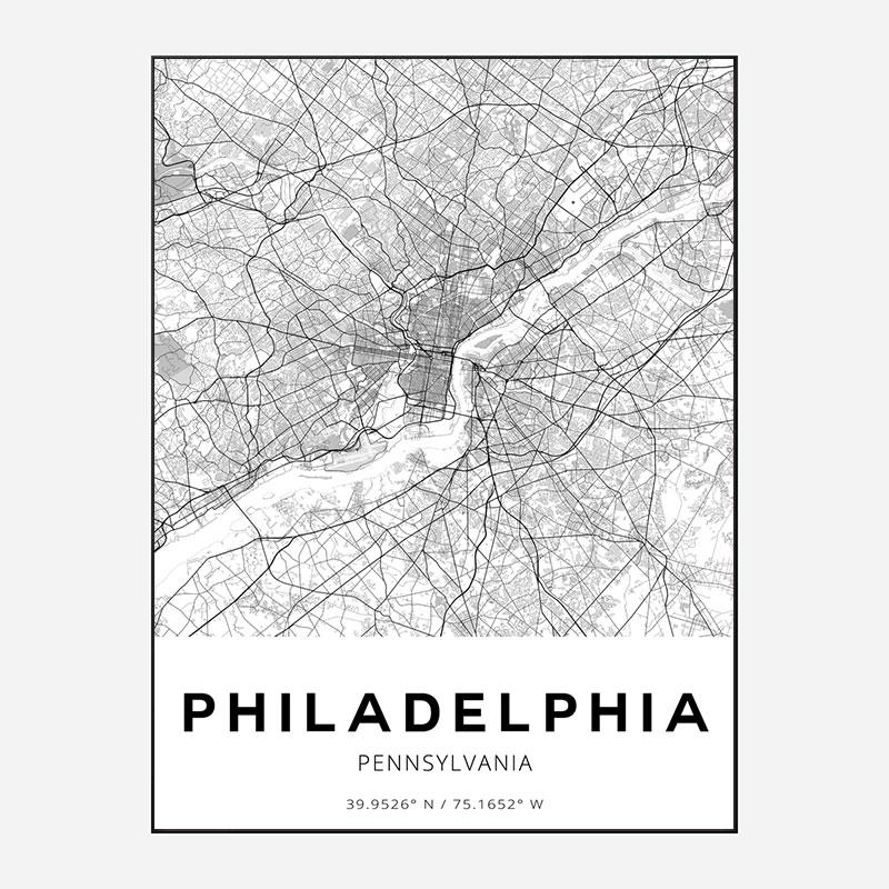 Philadelphia Pennsylvania City Map Art Print
