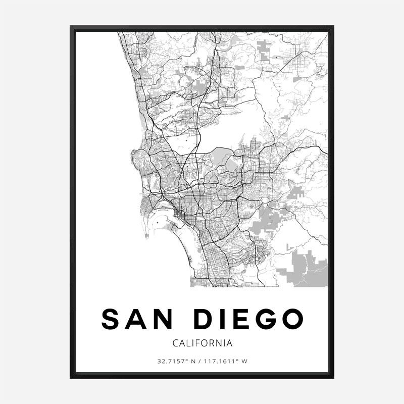 San Diego California City Map Art Print
