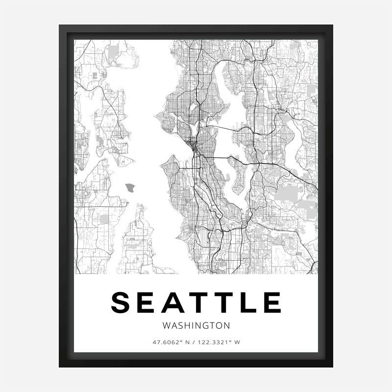 Seattle Washington City Map Art Print