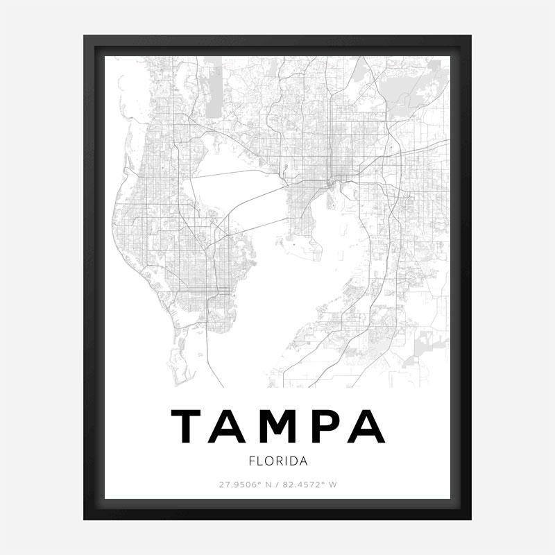 Tampa Florida City Map Art Print