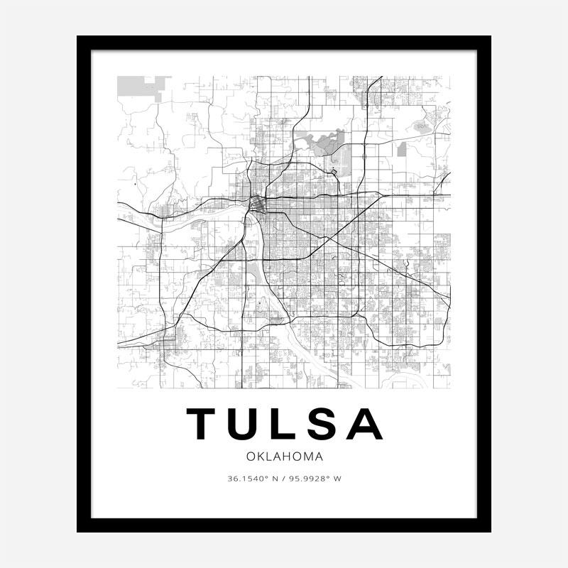 Tulsa Oklahoma City Map Art Print
