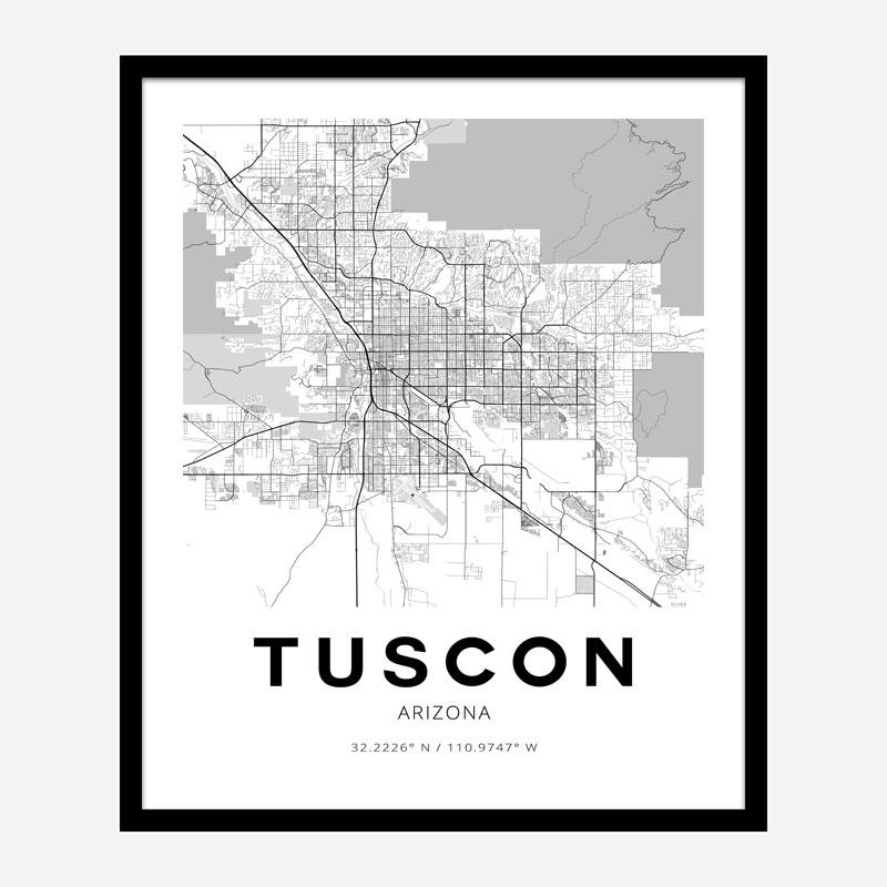 Tucson Arizona City Map Art Print