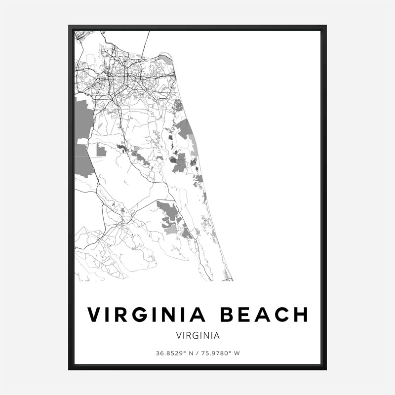 Virginia Beach Virginia City Map Art Print